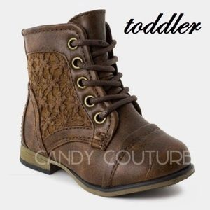 Brown toddler lace booties